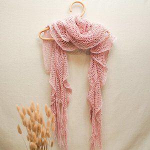 Light Pink Ruffled Knitted Fringe Scarf